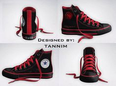 Custom Game of Thrones House Targaryen Converse Chucks by Tannim, also a bunch of other houses, Harry Potter, etc. Converse All Star, Tenis Converse, Cool Converse, Converse Shoes, Converse Chuck Taylor, Men's Shoes, Converse High, Custom Converse, Black Converse