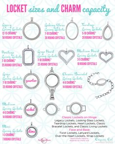Origami Owl Locket sizes and charm capacities for Fall 2016. www.CharmingLocketsByAline.OrigamiOwl.com