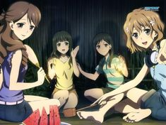 Welcome To The Club - club, anime, friends, hanging out, watermelon, hanasaku iroha, girls