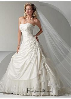 Beautiful Elegant Exquisite Strapless Taffeta Wedding Dress In Great Handwork