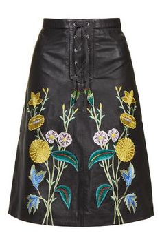 Embroidered Leather Midi Skirt - Topshop
