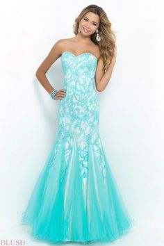 Fashion Pool Nude Bodice Embellished Strapless Mermaid Gowns