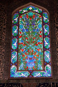 Stained glass window in the Harem in Topkapi Palace, Istanbul, Turkey