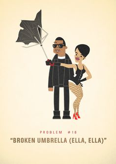 "Ever wonder what problems"" Jay-Z could possibly have? One graphic artist has an idea. Ali Graham created a series of comical illustrations imag. Graham, Dali, Inspirational Rap Lyrics, Illustrations, Illustration Art, Hip Problems, Umbrella Art, E Design, Graphic Design"