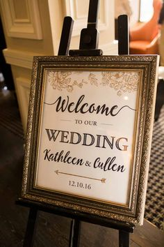 Gold Framed Welcome Wedding Sign - Citrus Club Wedding in Downtown Orlando - Orlando Wedding Venue - Navy and Blush Wedding - Photo by Captured by Belinda - Orange Blossom Bride - www.orangeblossombride.com - click pin for more