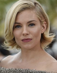 Sienna Miller's bob is styled to flip out at the bottom giving it a sweet retro vibe.