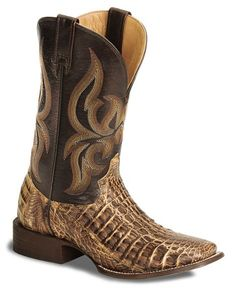Stetson Flank Cut Caiman Cowboy Boots - Square Toe (Chocolate or Tan)