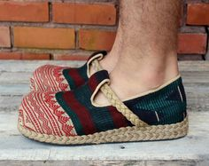 Mens Shoes in Ethnic Naga Embroidery Earthy by SiameseDreamDesign, $42.00