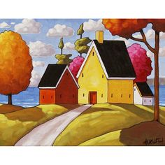 "Art Print by Cathy Horvath 8.5""x11"" Modern Folk Art Giclee, Sunny Colorful Summer Cottage Trees, Ocean Seascape View, Artwork Reproduction"