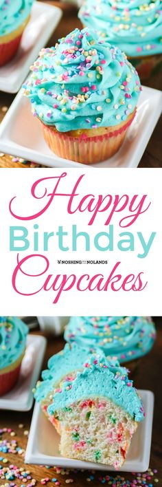 Happy Birthday Cupcakes from Noshing With The Nolands are deliciously moist vanilla cupcakes with sprinkles, topped with buttercream frosting. These are sure to bring a smile to everyone's face! (Baking Cookies With Kids) No Bake Desserts, Just Desserts, Delicious Desserts, Yummy Food, Baking Desserts, Baking Snacks, Baking Cups, Moist Vanilla Cupcakes, Yummy Cupcakes