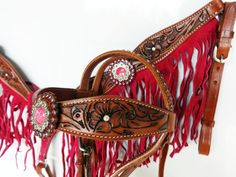 PINK FRINGE LEATHER HEADSTALL WESTERN HORSE SILVER SHOW BRIDLE BREASTCOLLAR #mrsaddle I NEED THIS!!! Beautiful!!
