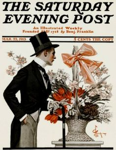 Leyendecker, Joseph Christian (b,1874)- Man & Basket of Flowers- 'Sat Eve Post,, 1913