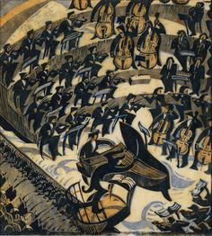 "Cyril Edward Power (British, 1872-1951) - ""The Concerto"", 1935 - Linocut"