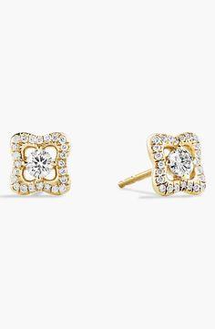 David Yurman 'Venetian Quatrefoil' Earrings with Diamonds in Gold