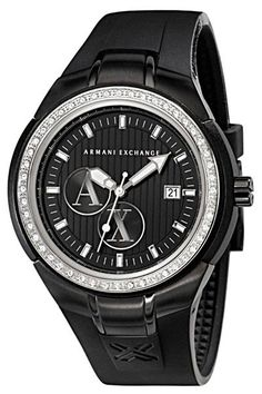 Armani Exchange Crystal Accents Black Dial Women's watch AX5014 -commodityocean.com Armani Watches For Women, Watches For Men, Wrist Watches, Metal Bands, Digital Watch, Omega Watch, Quartz, Crystals, Accessories