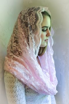Evintage Veils: Soft Rose Scalloped Lace Infinity Mantilla Chapel Veil Ivory by EvintageVeils on Etsy