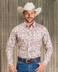 """Wrangler 20x Men's Tan and Red Paisley Print Western Shirt with western yokes, snap front #winter2015 casual men's clothing for cowboys rugged men man western ranch style tough """"gifts for cowboys"""" """"gifts for men"""""""