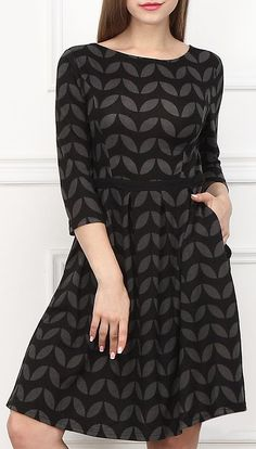 Charcoal & Gray Leaf Fit & Flare Dress