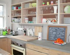 Take doors off top cabinets for an open space, be sure to paint/wallpape inside of cabinets if you need to. - Ten Kitchen Improvements for Renters