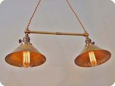 Twin Pendant Lamp w/ Brass Cone Shades  Vintage by DWVintage