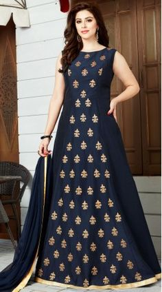 Be the sunshine of anyone's eyes dressed in such a interesting navy blue art silk and cotton silk floor length anarkali suit. The embroidered, kasab and lace work looks chic and ideal for {occassion. Pakistani Dress Design, Pakistani Dresses, Indian Dresses, Indian Wedding Outfits, Indian Outfits, Indian Attire, Party Wear Maxi Dresses, Long Dresses, Silk Anarkali Suits