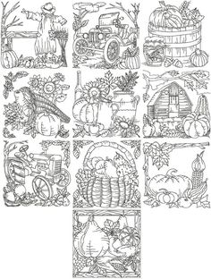 Advanced Embroidery Designs - Autumn Redwork Set III