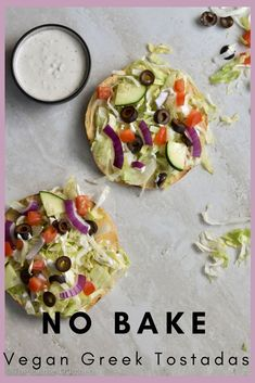 These no-bake, vegan Greek Tostadas are perfect for a weekday meal! They're also gluten free and healthy! #vegan #glutenfree #plantbased #easy #weekday #healthy