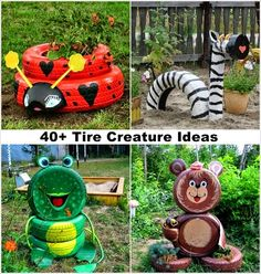 Used Tires--Creative Animal Shaped Garden Decor