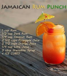 A Sip of the Caribbean – Beachy Bevs - - Jamaica – Jamaican Rum Punch: Jamaica is known for its rum! Whip up this bad boy, play a little Bob Marley and you're in for a real treat. We can help you with the beach part. Liquor Drinks, Cocktail Drinks, Bourbon Drinks, Easy Rum Cocktails, Spiced Rum Drinks, Coconut Rum Drinks, Disney Cocktails, Rum Cocktail Recipes, Cocktail Ideas