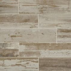 The Montagna Wood Vintage Chic Gray by MARAZZI is a 6 in. x 24 in. porcelain tile designed to convey the look of painted wood that has been weathered and reclaimed, a rich blend of gray shades and textures