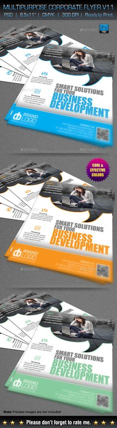 Multipurpose Corporate Flyer V11 — Photoshop PSD #business #multi-use • Available here → https://graphicriver.net/item/multipurpose-corporate-flyer-v11/10689597?ref=pxcr