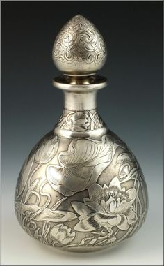 Fine Gorham Art Nouveau Sterling Silver Overlay Perfume Bottle