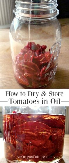 How to Dry Tomatoes And Store In Olive Oil Tutorial and safety information on the time-honored tradition of drying tomatoes and storing in olive oil to use in any recipe calling for dried tomatoes. Preserving Tomatoes, Dried Tomatoes, Grow Tomatoes, Preserving Food, Storing Tomatoes, Sundried Tomato Recipes, Baked Parmesan Tomatoes, Dehydrated Food, Dehydrator Recipes