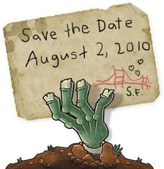 zombie save the date Zombie Birthday Parties, Zombie Party, 11th Birthday, Birthday Ideas, Plants Vs Zombies Personajes, Zombies Vs, P Vs Z, Monster Party, Diy Party