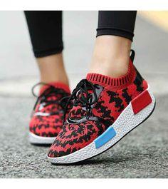 Women's #red flyknit lace up #rocker bottom sole shoe sneakers, lightweight, pattern, Shock absorption sole, casual, leisure occasions.