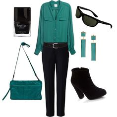 Teal And Black, created by janilebaron on Polyvore