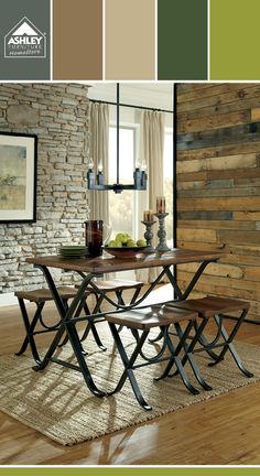 Love the hint of bright green with the natural wood tones! Freimore Dining Room - Ashley Furniture HomeStore