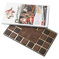 NYC,Oh What Fun it Is Belgian Chocolate Box 45 Piece Box Of Belgian Chocolates. 16oz.  $31.95 - #stanrail Give the gift of decadence with a custom chocolate box filled with 100% premium Belgian chocolate. These chocolates are made with top quality cocoa beans and carefully roasted in Belgium with the finest European ingredients for a smooth texture Oh What Fun it Is To Ride On a New York Central Railroad Passenger Train!  #stanrails_store