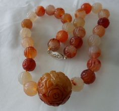 Vintage Carved Chinese Carnelian Beads Necklace
