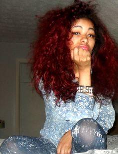 Red hair, curly hair, natural hair, colored hair, dyed hair