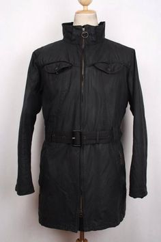 Womens BARBOUR Cameron Belted Hooded WAX Jacket Black Size UK 20, US 16