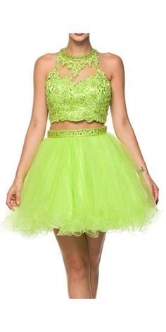 Two-Piece Short Prom Dress, Lime Green Homecoming Dress,Party Dress,YY394