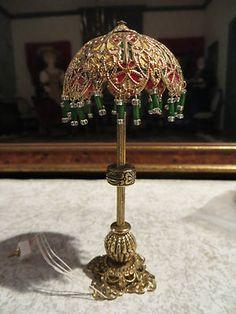 DOLLHOUSE MINIATURE ARTISAN VICTORIAN ELABORATE STANDING LAMP BEADWORK
