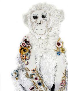 Karen Nicol Monkey from Coalbrookdale, 2013 Raffia and sculptured x 60 x 4 cm (Perspex Box Frame) Textile Fiber Art, Textile Artists, Monkey Illustration, Monkey Art, Creative Textiles, Graffiti, Hand Embroidery, Paper Art, Quilling