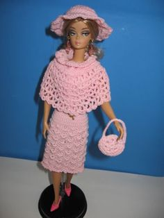 OOAK-Barbie-amp-Silkstone-Dolls-Handmade-Crochet-Cotton-Candy-Pink-6pc-outfit