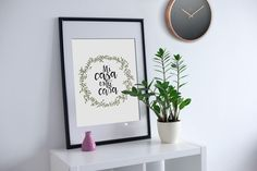 Printable calligraphy quote, floral wall art, inspirational art, walcome print, Mi casa es tu casa, digital print, printable wall decor di VersusPrints su Etsy