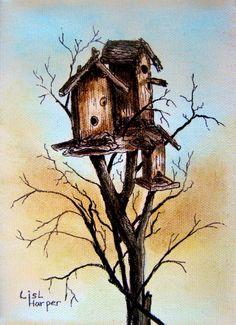 Bird House... Oil, Ink & Pen