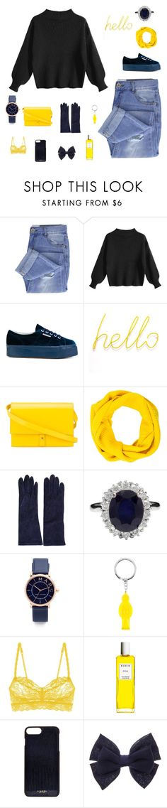 """Sunshine and navy blue"" by bunnyrabbit8 ❤ liked on Polyvore featuring Taya, Superga, PB 0110, Hermès, Marc Jacobs, Cruciani, Cosabella, Rodin and Vianel"