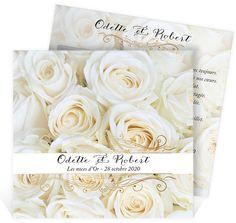 invitation anniversaire de mariage sur un lit de roses blanches pour vos 50 ans de mariage - Noce 50 Ans De Mariage