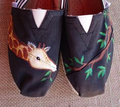 Hungry Giraffe TOMS by LamaLand on Etsy, $85.00.  Or knock off shoes and someone to paint it for you.